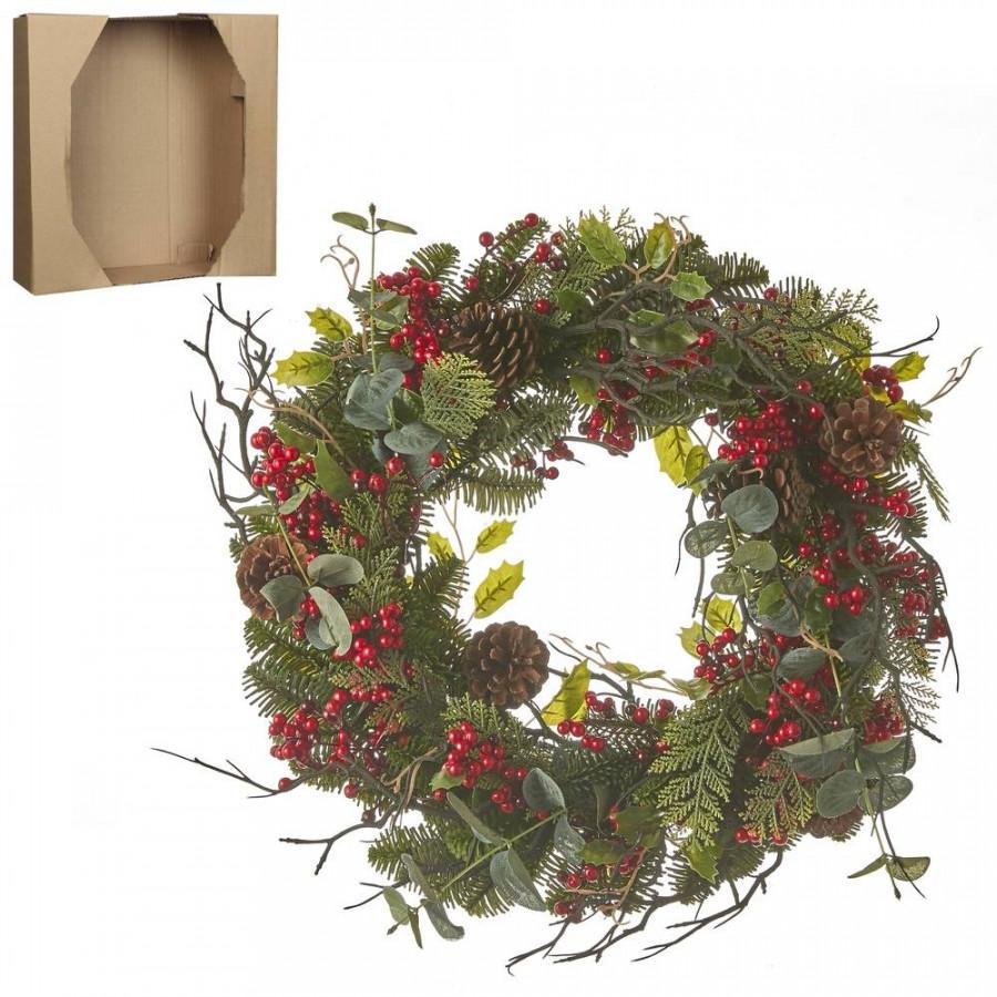 Фото:  Венок украшенный с ягодами 10*50см зеленый House of Seasons